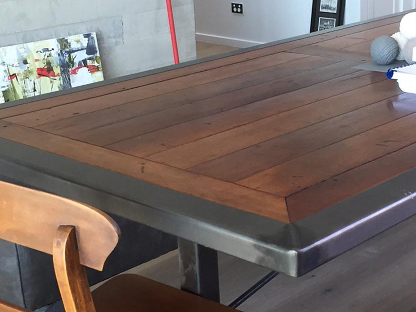 Dining table upcycled by the Sheet Metals team